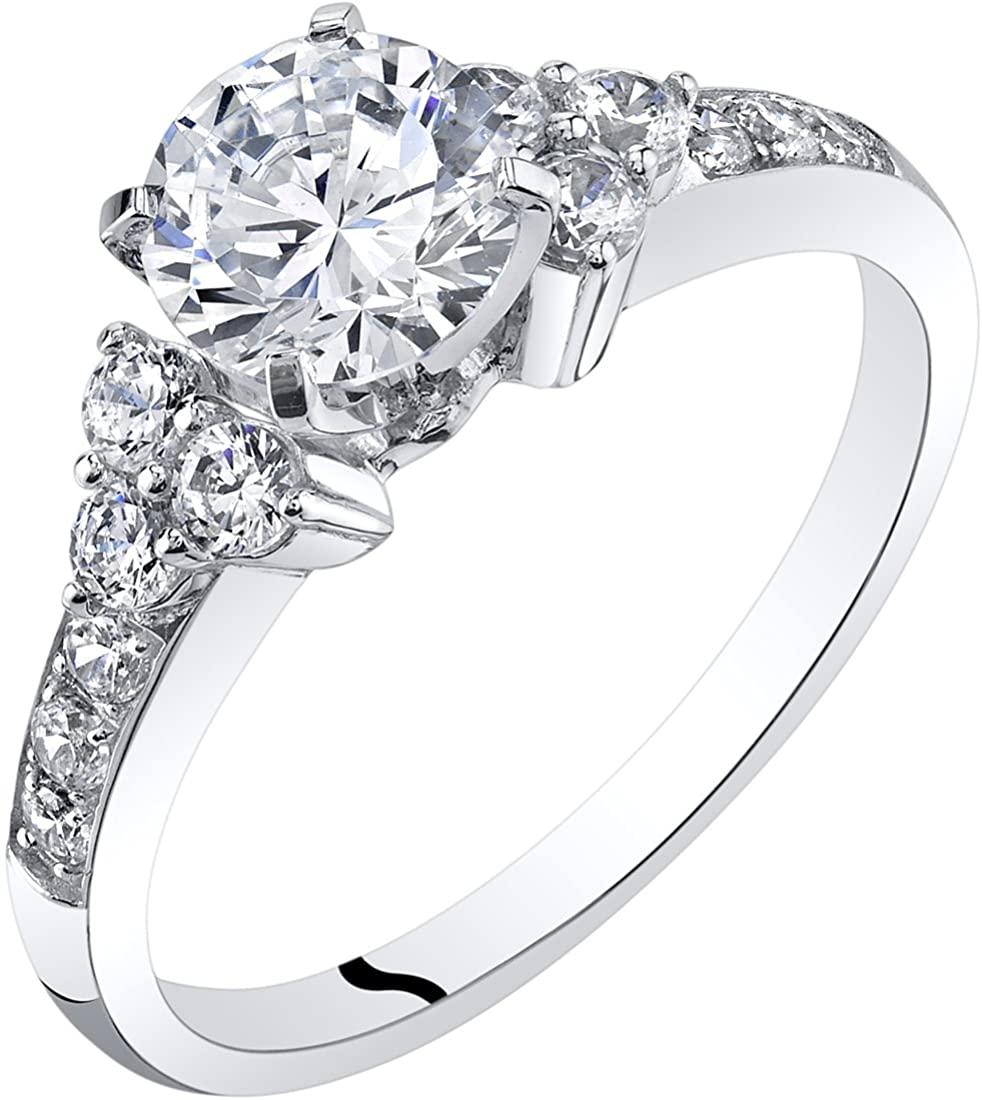 Peora 14K White Gold Classic Style Engagement Ring Sizes 4-10