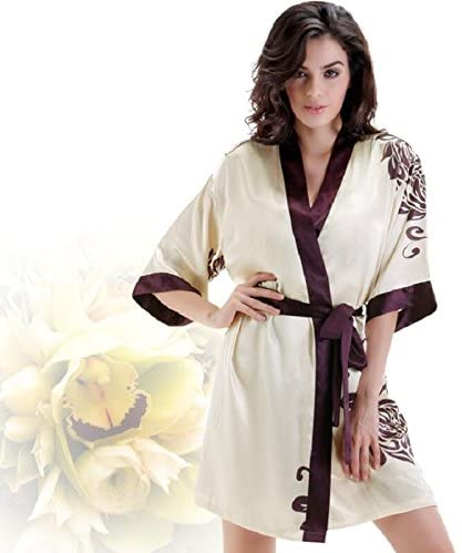 SS&LL New Ladies Casual Cool Breathable Elegant V-Neck Straps Nightgown Two Sets of Bathrobes,Purple,M