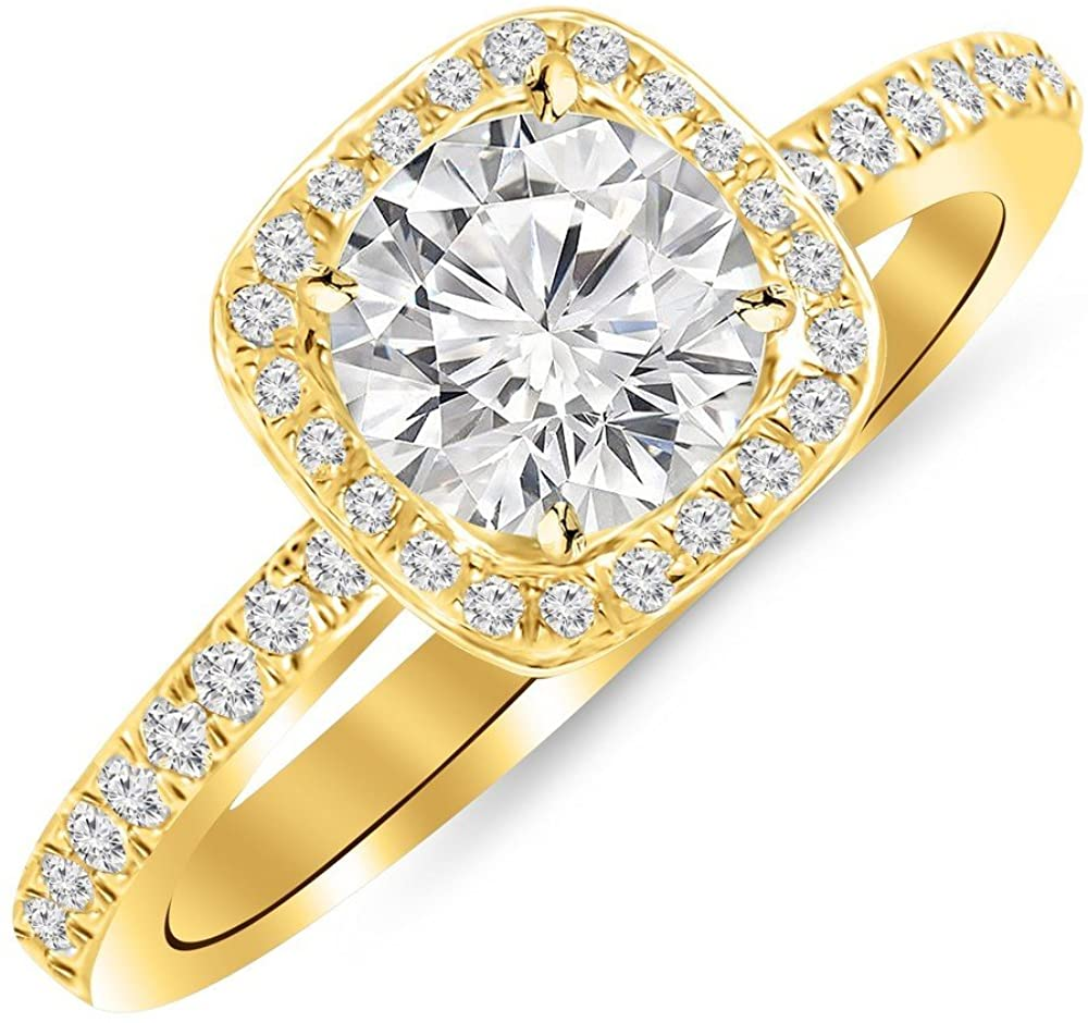 1 Ctw Round Cushion Halo 14K White Gold Diamond Engagement Ring (D-E Color SI2 Clarity 0.75 Ct Center)