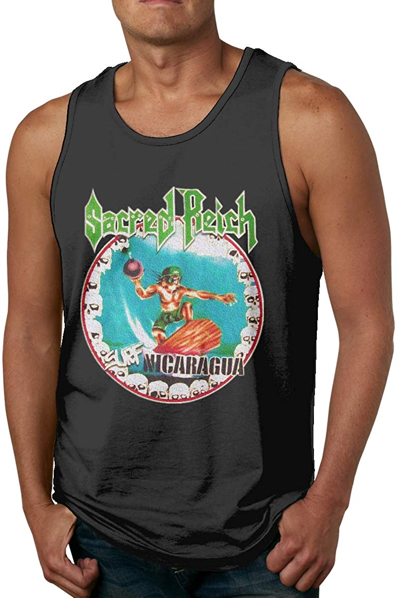 Levoncar Mens Fashion Logo of Sacred Reich Surf Nicaragua Fitness Sleeveless Tank Top T Shirts