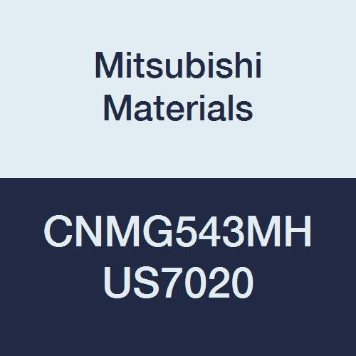 Mitsubishi Materials CNMG543MH US7020 Carbide CN Type Negative Turning Insert with Hole, Stable Cutting, Coated, Rhombic 80°, 0.625