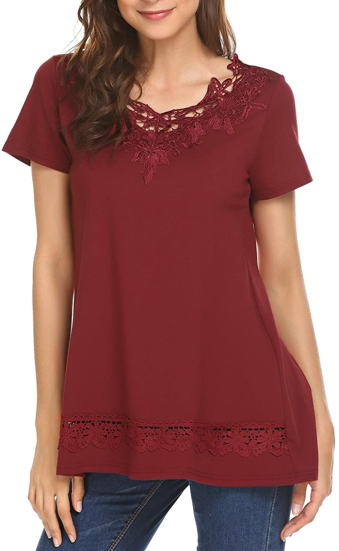 SoTeer Womens Short Sleeve Loose Lace Splice Peplum Blouses T-Shirt Tops