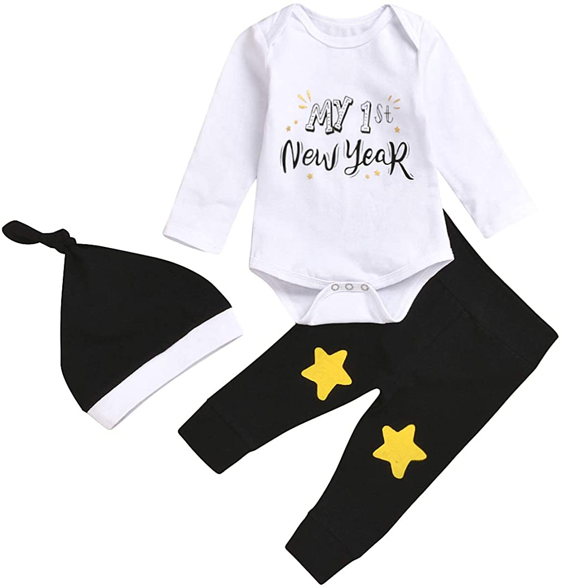 2020 New Years Baby Outfits Newborn Baby Boy Girl My First New Years Romper Bodysuit+Cute Star Pants+ Hats 3PCS Clothes Set