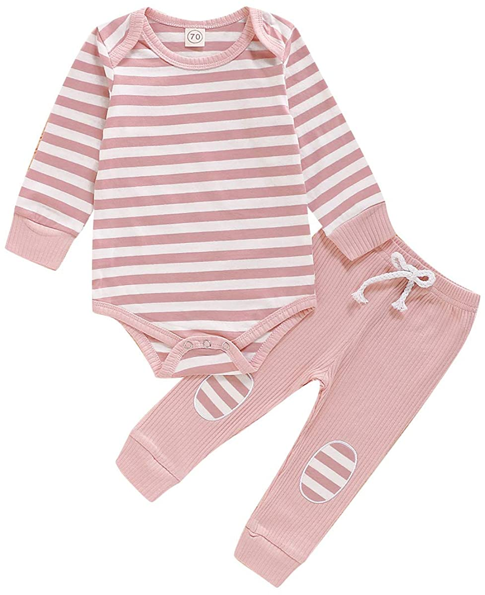 Infant Baby Girls Boys Fall Outfits Long Sleeve Striped Romper Bodysuit+Knit Pants Pajamas Clothes Set