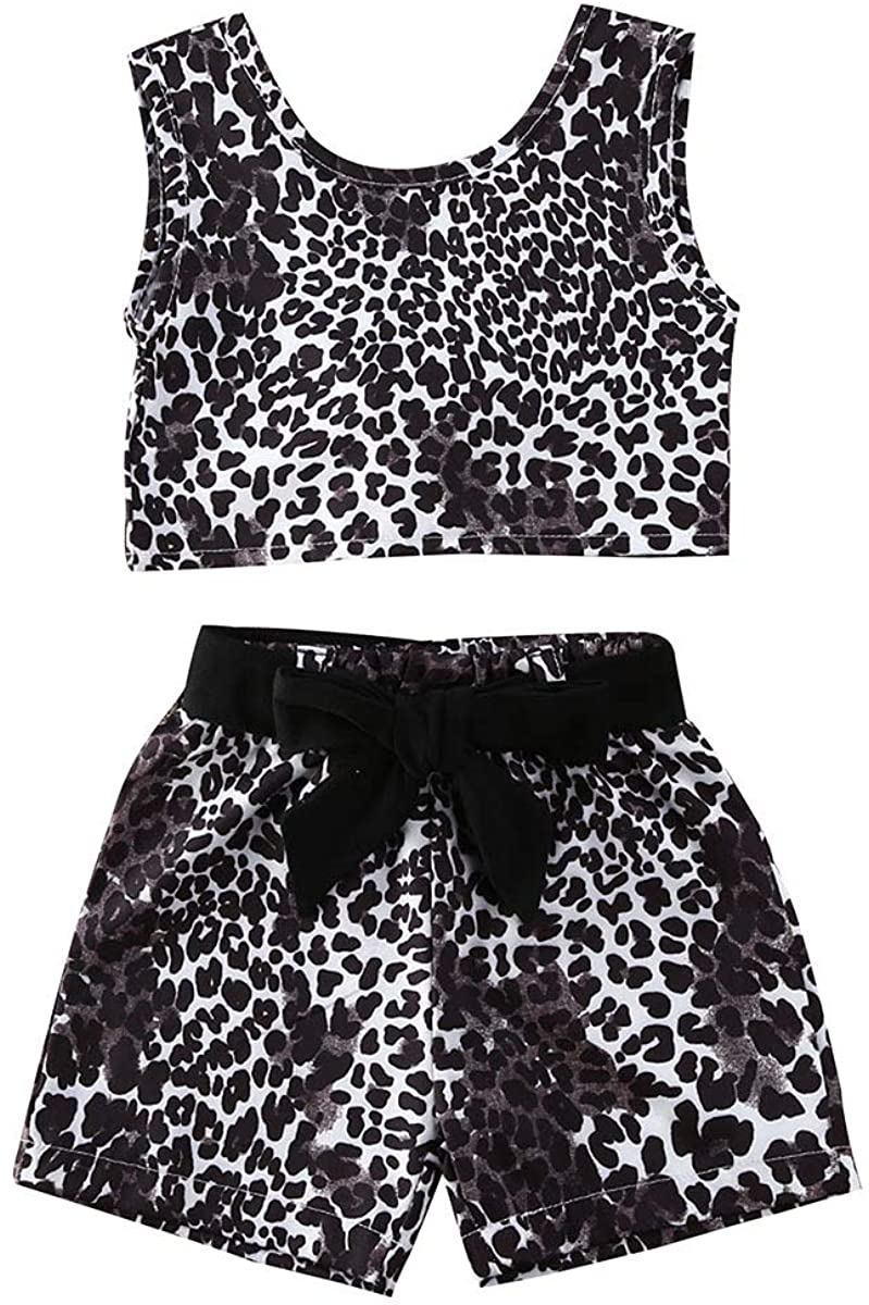 Baby Girl Leopard Shorts Set Sleeveless Vest Crop Tops and Bow-Knot Shorts Summer Clothes Set