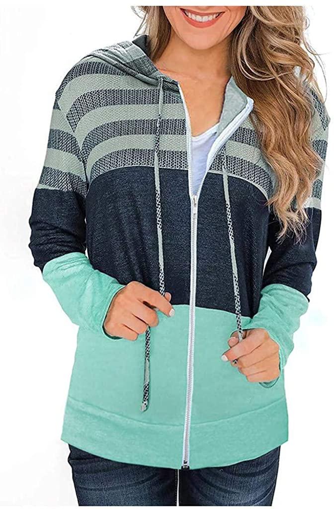 Women's Patchwork Hooded Zipper Pullover Drawstring Sweatshirt Loose Outwear Winter Warm Tops