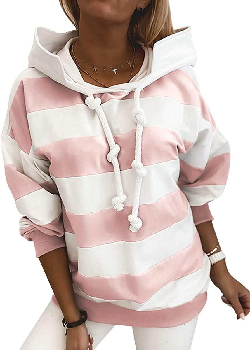 Women Striped Pattern Color Block Cowl Neck Long Sleeve Drawstring Pullover Hoodies Sweatshirts Tops