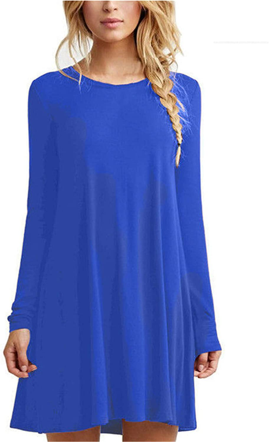 Soluo Womens Long Sleeve Loose Fit Tunic Dress Plus Size Casual Round Neck T-Shirt Dresses Tops Tunic