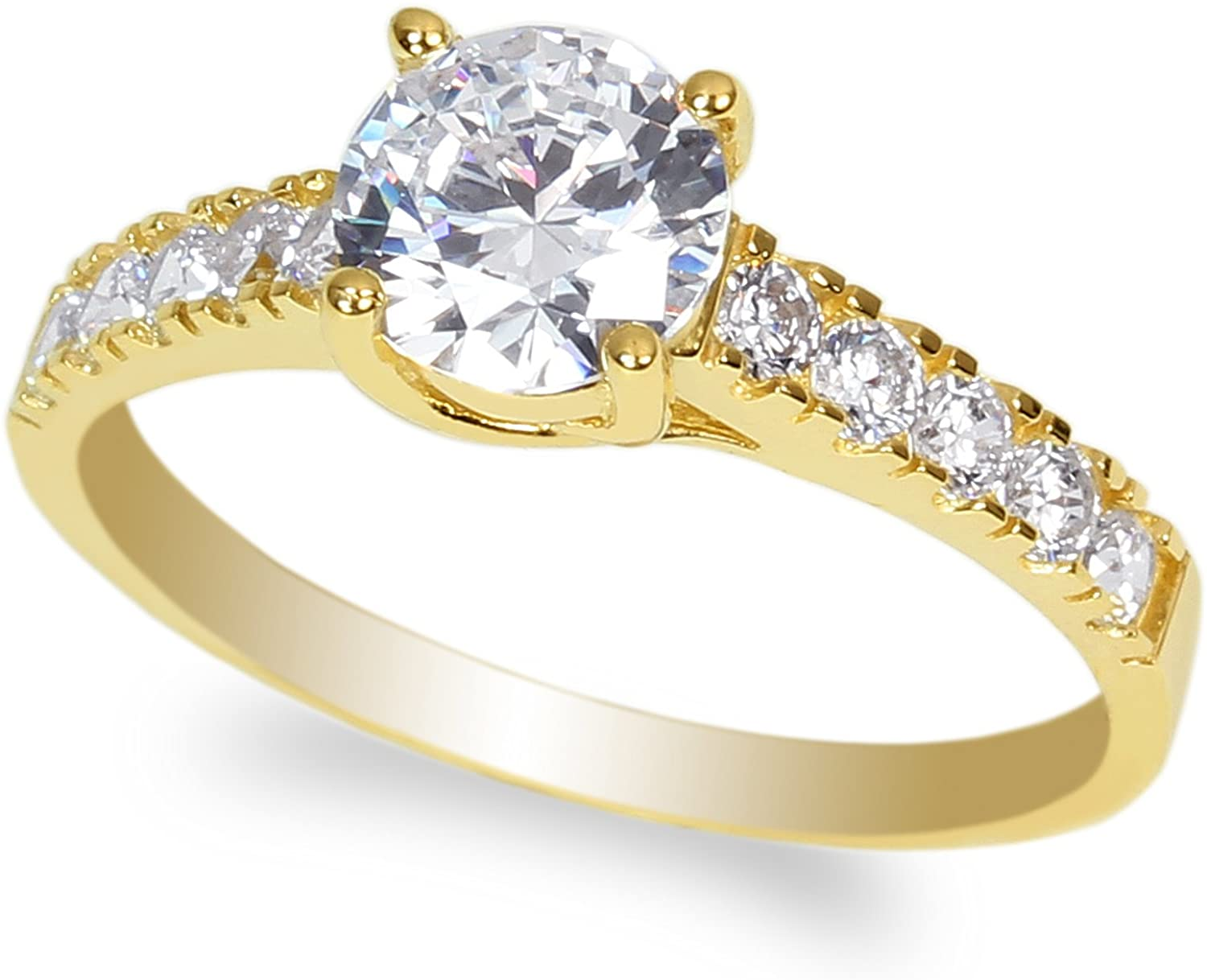 JamesJenny 10K Yellow Gold 0.9ct Round Clear CZ Beautiful Solitaire Ring Size 4-10