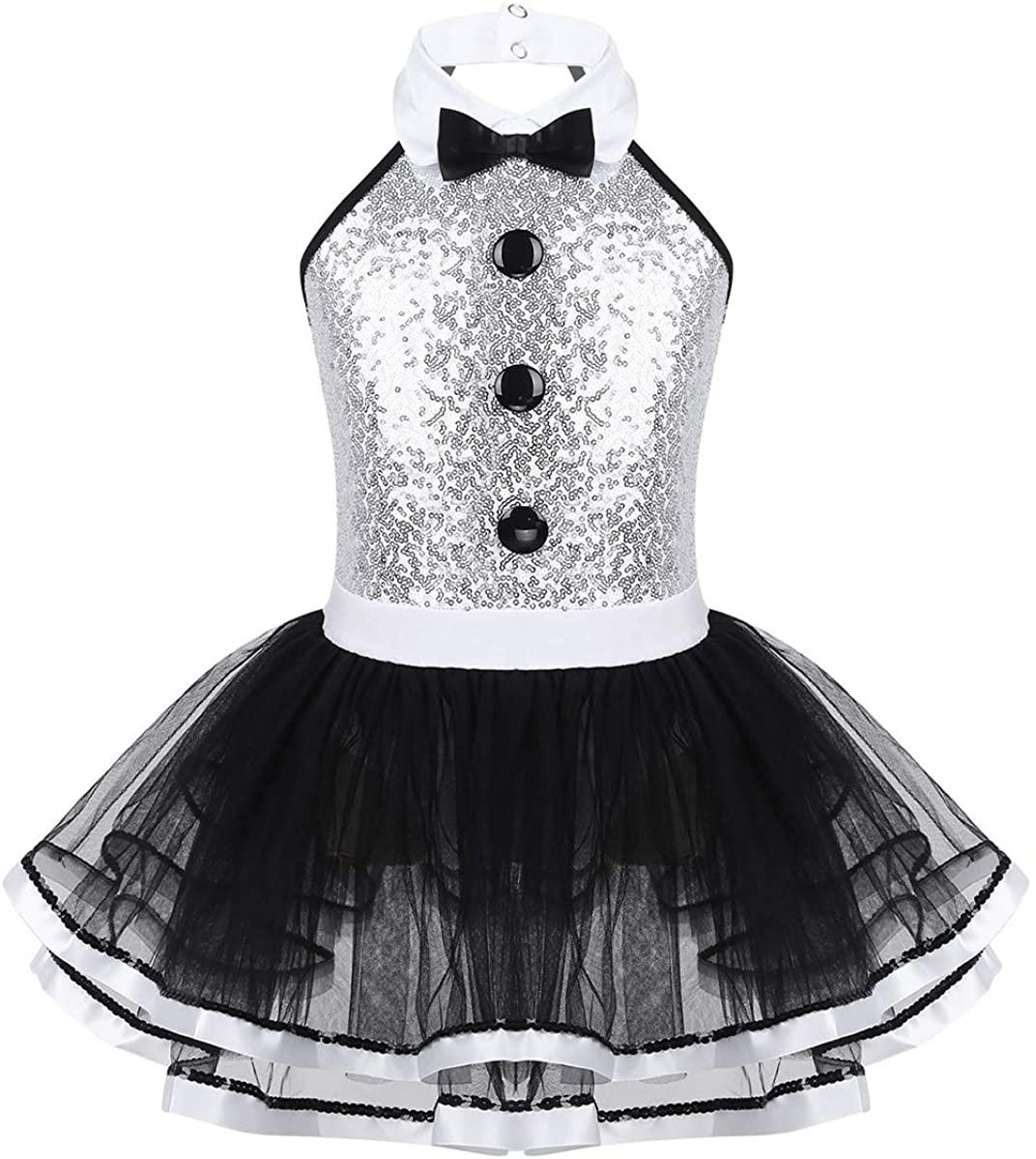 MSemis Kids Girls Sequins Halter Bow Tie Neck Camisole Top Tutu Skirts Ballet Modern Jazz Street Dance Dress