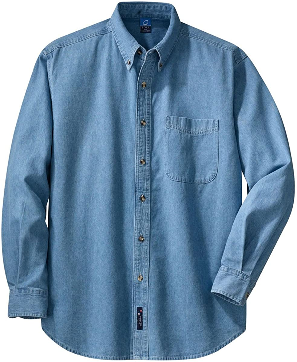 Port & Company Mens Long Sleeve Value Denim Shirt