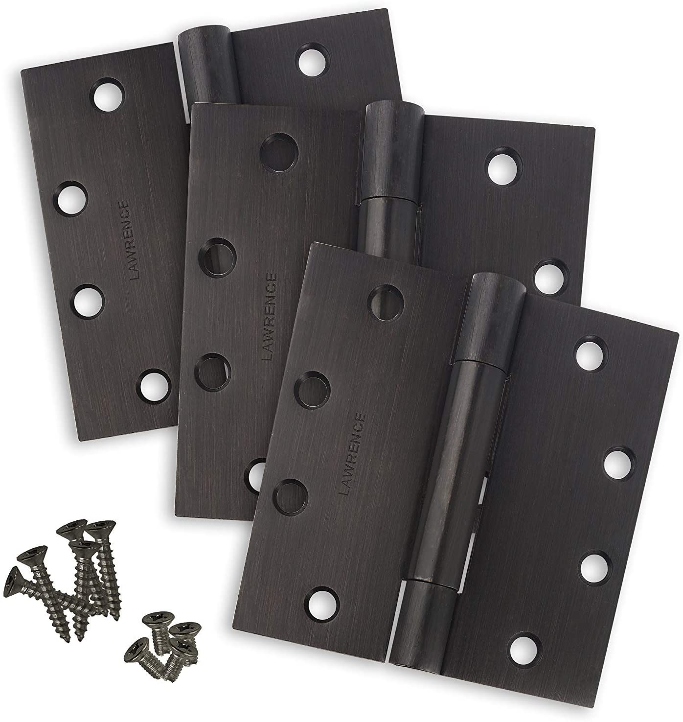 Commercial Door Hinges, Standard Weight Butt Hinge, 4.5 x 4.5, Concealed Bearings, Oil Rubbed Bronze (US10B), 3 Pack, Lawrence Hardware