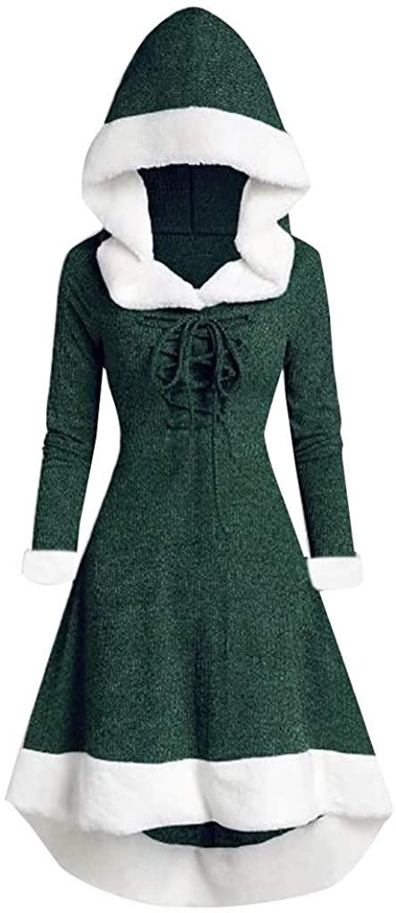 LEKODE Dress Women's Christmas Patchwork Hooded Long Sleeve