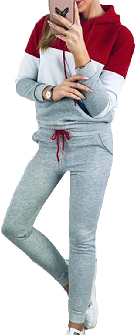 Womens 2 Pieces Set Stripe Sweatsuits Patchwork Long Sleeve Pullover Sweatshirt Tops and Long Pants Tracksuit