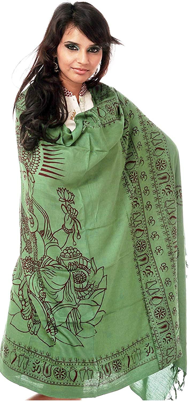 Exotic India Green Printed Ganesha Prayer Shawl