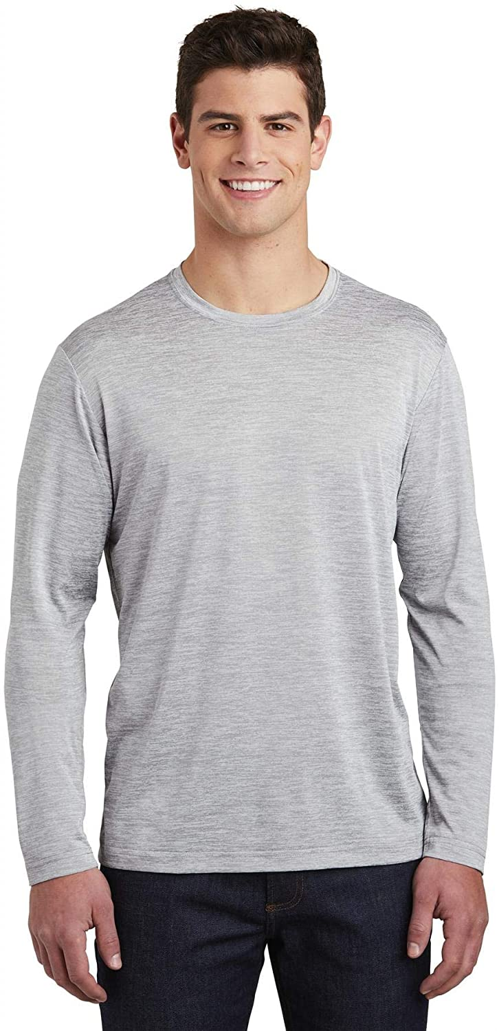 Sport-Tek PosiCharge Long Sleeve Electric Heather Tee L Silver Electric