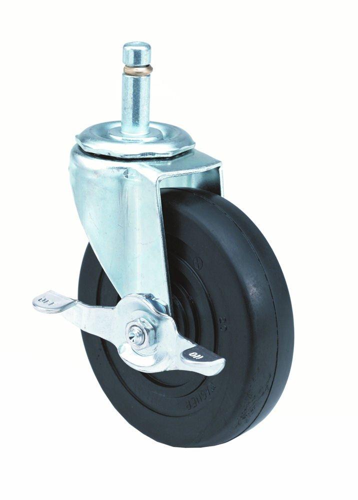 E.R. Wagner Stem Caster, Swivel with Pinch Brake, Polyolefin Wheel, Plain Bearing, 145 lbs Capacity, 5