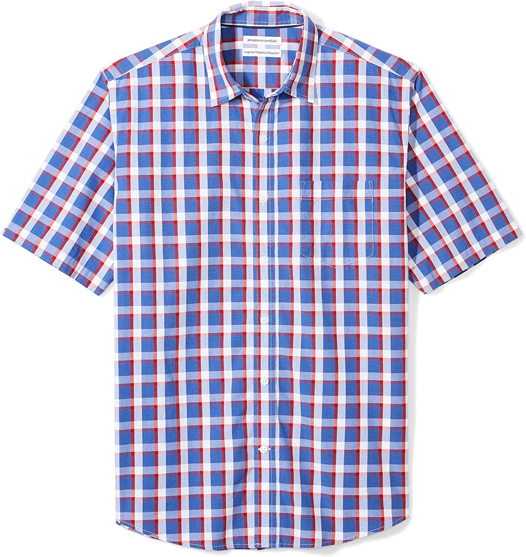 DHgate Essentials Men's Regular-Fit Short-Sleeve Casual Poplin Shirt, blue/red plaid, X-Large