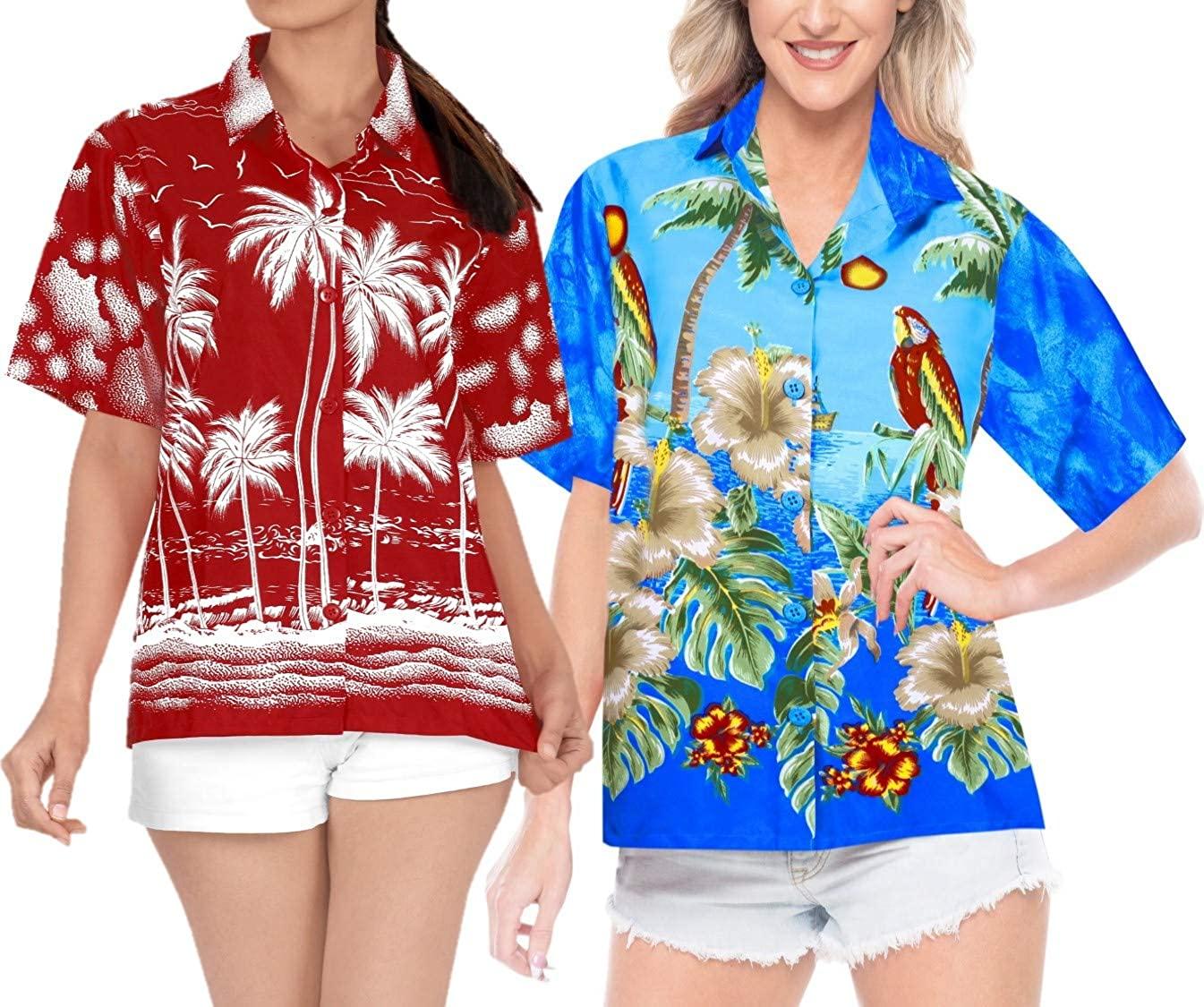LA LEELA Women's Relaxed Beach Hawaiian Shirt Aloha Blouse Tops Shirt Work from Home Clothes Women Beach Shirt Blouse Shirt Combo Pack of 2 Size M