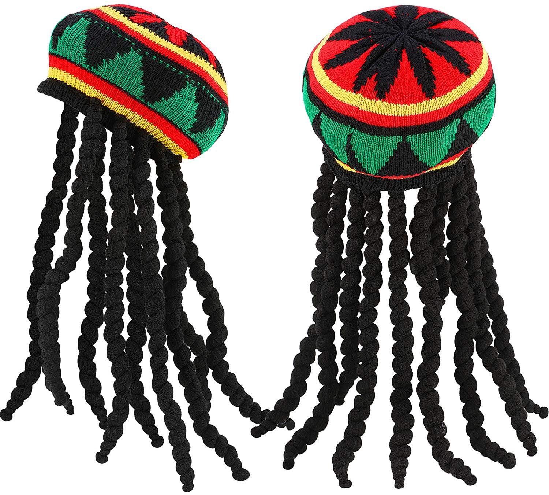 SATINIOR Rasta Hat with Black Dreadlocks Wig Rasta Wig with Cap for Costume Accessory (2 Pieces)