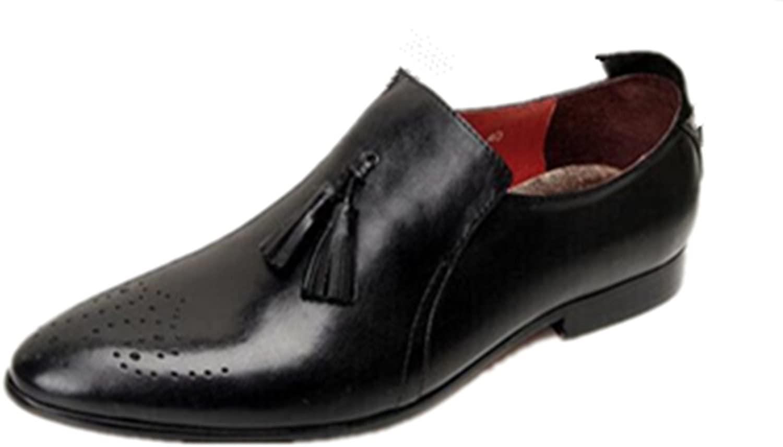 HAPPYSHOP(TM Mens Leather Brogue Tassels Business Suit Derby Shoes Uniform Dress Shoes