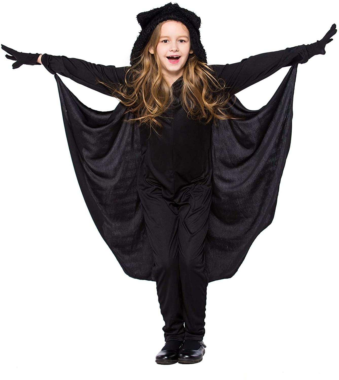 ECOLIVZIT Kids' Batman Halloween Costume Girls Costume Jumpsuit Batgirl Onesie with Hoodie, Cap and Gloves