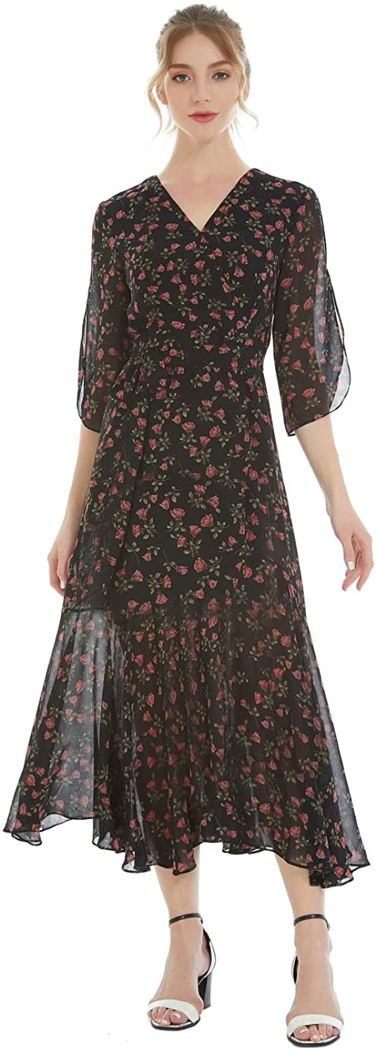 Women Vintage Floral Print Maxi Dress of Chiffon Tencel Cotton for Weddings Dinners Banquets