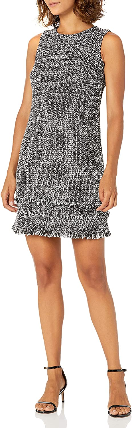 Calvin Klein Womens Petite Sleeveless Shift with Fringe Hem Dress