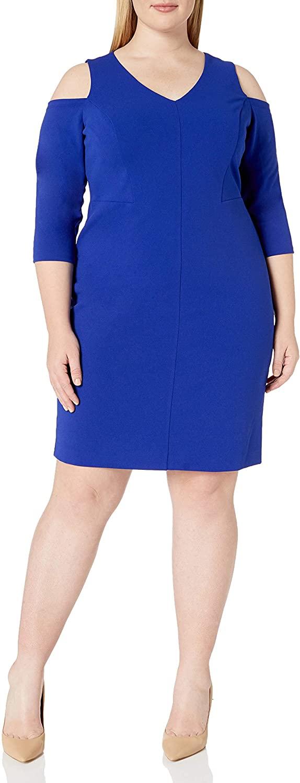 Jessica Howard Women's Plus Size Elbow Sleeve Cold Shoulder Dress