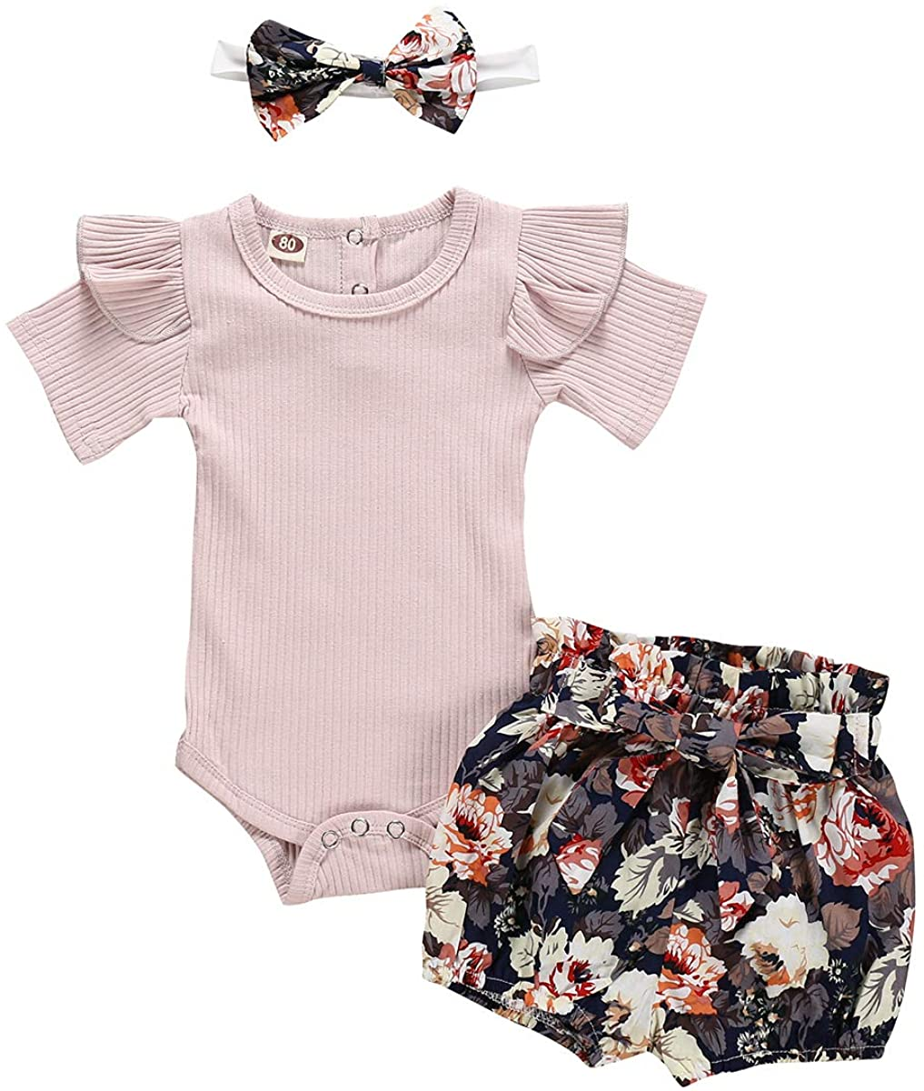 Newborn Baby Girl Summer Outfits Solid Color Flying Sleeve Romper +Floral Short Pants+Headband Clothes Set