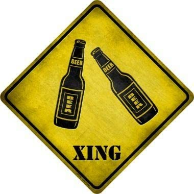 Beer Xing Novelty Metal Crossing Sign (Sticky Notes)