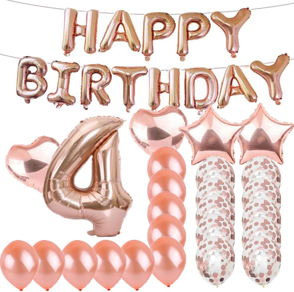 Sweet 4th Birthday Decorations Party Supplies,Rose Gold Number 4 Balloons,4th Foil Mylar Balloons Latex Balloon Decoration,Great 4th Birthday Gifts for Girls,Women,Men,Photo Props