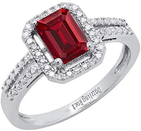 Dazzlingrock Collection 14K 7X5 MM Emerald Shape Lab Created Gemstone & Round Diamond Ladies Engagement Ring, White Gold