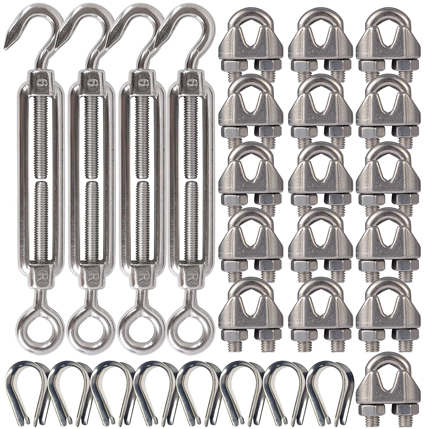 4-Pcs Turnbuckle/Tension(Eye&Hook, M6), 16-Pcs 1/8 Inch Wire Rope Cable Clip/Clamp(M3), 8-Pcs Thimble(M3), Stainless Steel Kit