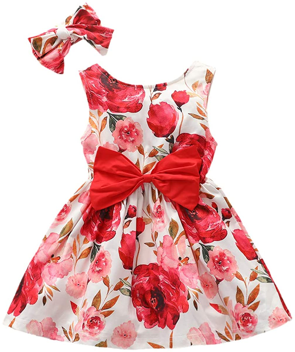 YOUNGER STAR Baby Girl Floral Dress Bow-tie Sleeveless Summer Clothes with Headband Princess Sundress Kids Outfits