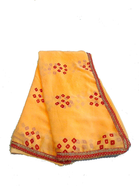 Kanha Women's Traditional Rajasthani Bandhani Saree with Fancy Border Export Quality Latest Bandhej Sari Orange