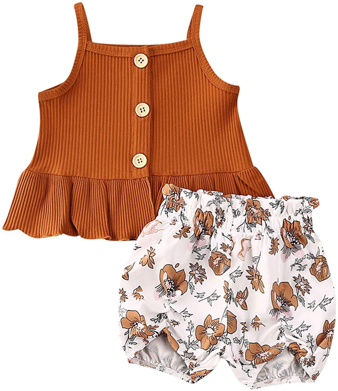 2Pcs Baby Girl Clothes Outfits Sunflower Ruffle T-Shirt Vest Top Leopard Print Short Pants Bloomers Pajamas Set