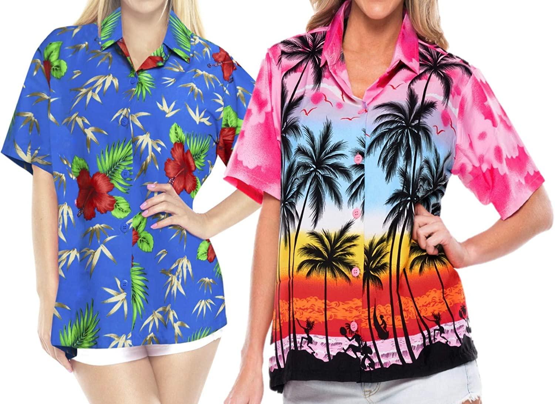 LA LEELA Womens Hawaiian Blouse Shirt Aloha Shirt Beachwear Outfit Work from Home Clothes Women Beach Shirt Blouse Shirt Combo Pack of 2 Size S