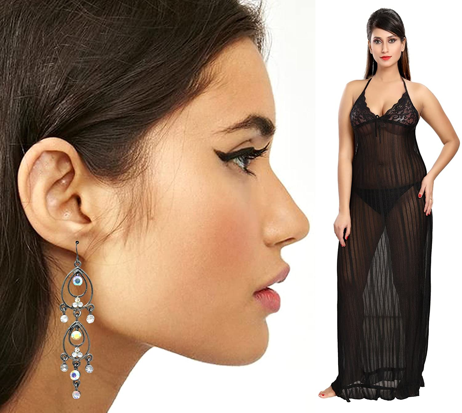 Be You Nighty & Earring Valentines Gifts for Wife Black