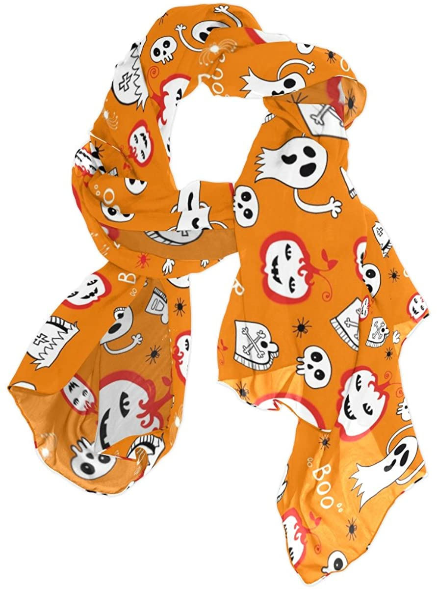 Halloween Skull Pumpkin Spider Chiffon Pashmina Shawl Scarf Wrap for Women