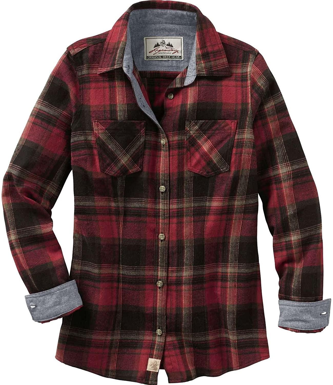 Legendary Whitetails Womens Cottage Escape Flannel Shirt, Forest Plaid, XX-Large