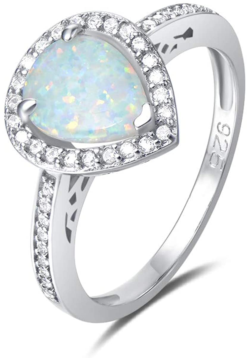 FANCIME 925 Sterling Silver White/BLue Created Opal Teardrop Halo Rings Gold Plated Dainty Engagement Water Drop October Birthstone Rings for Women Size 5,6,7,8
