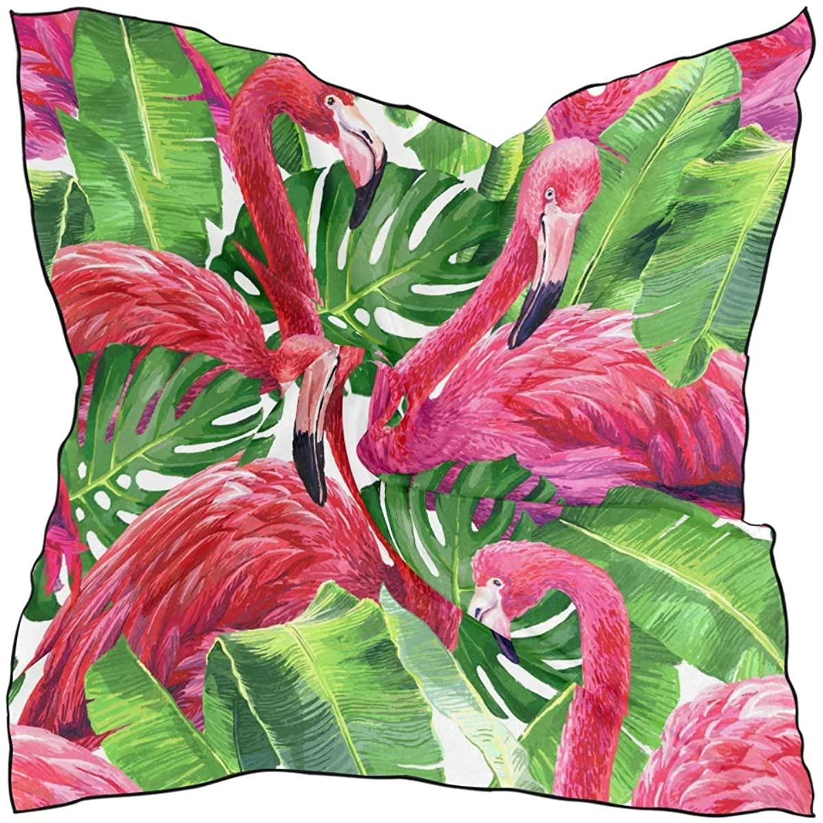 XLING Fashion Square Scarf Animal Flamingo Palm Leaves Lightweight Sunscreen Silk Scarves Muffler Hair Wrap Headscarf Neckerchief for Women Men
