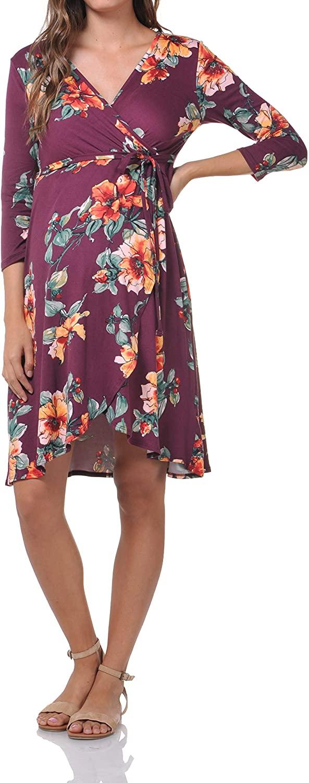 Beachcoco Maternity Women's 3/4 Sleeve Flower Printed Nursing Dress