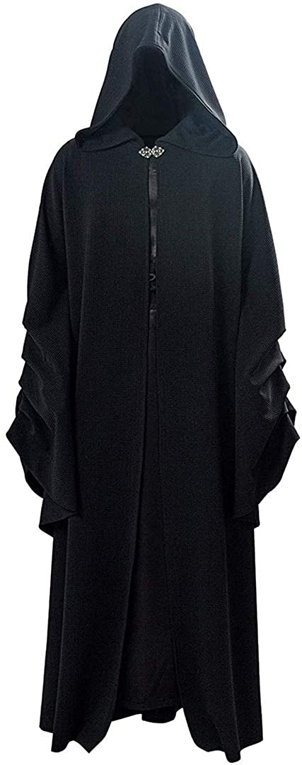 GLEST Sheev Palpatine Cosplay Costume Robe Halloween Hooded Cloak Uniform for Mens Halloween Outfits