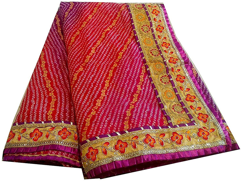 Kanha Women's Traditional Rajasthani Bandhani Saree with Gotta Patti Heavy Border Export Quality Latest Bandhej Sari for Women