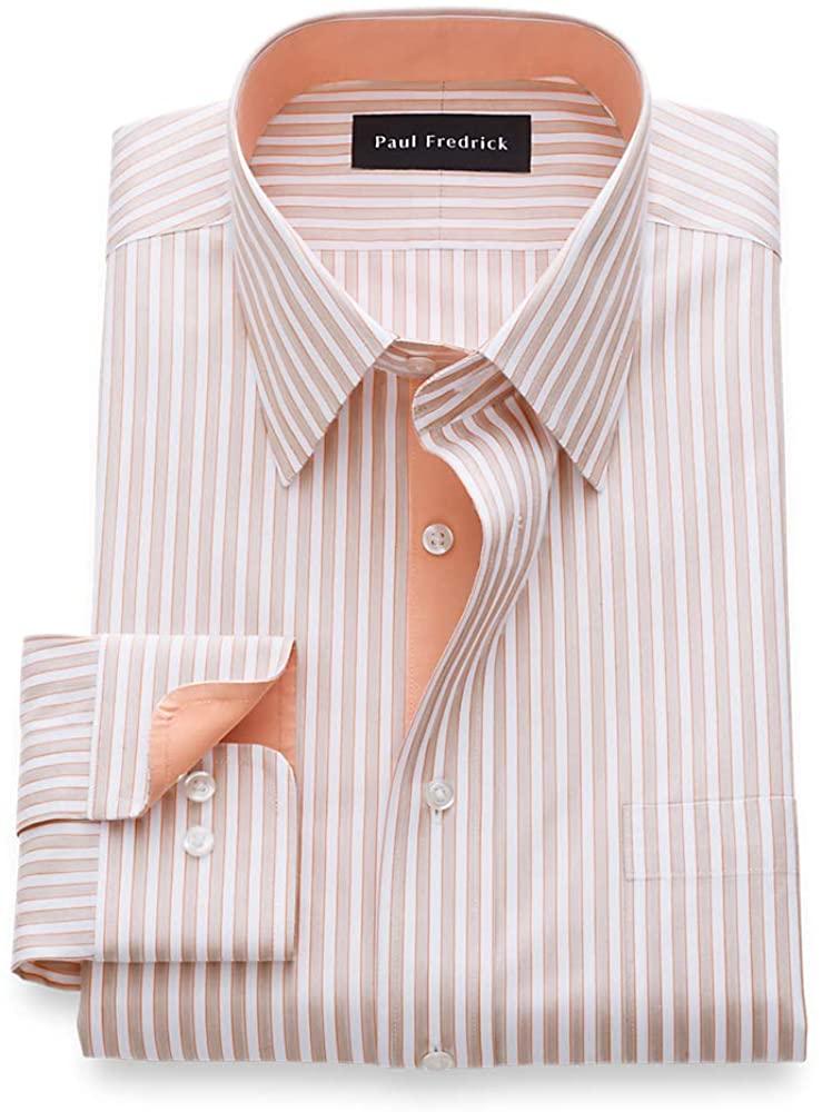 Paul Fredrick Men's Tailored Fit Non-Iron Cotton Framed Stripe Dress Shirt