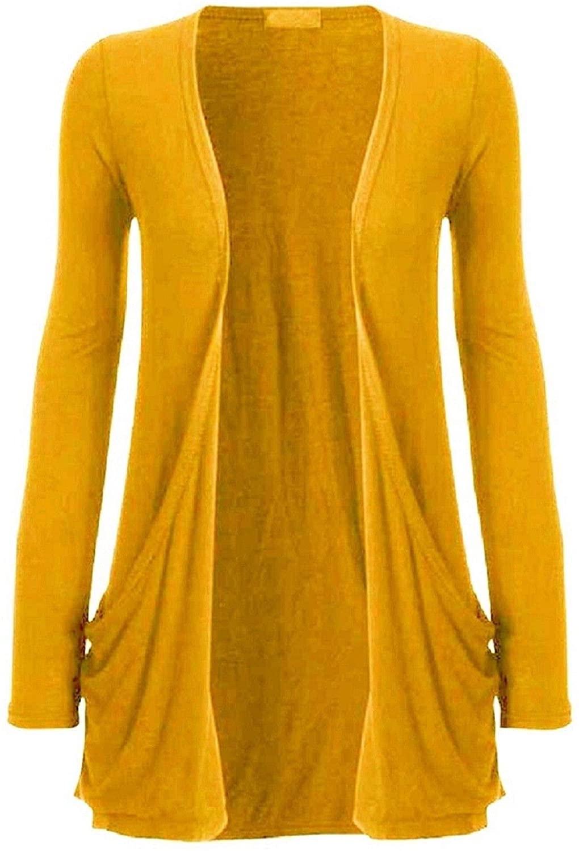 Hot Hanger Ladies Pocket Long Sleeve Cardigan : Color - Mustard : Size - 12-14 ML