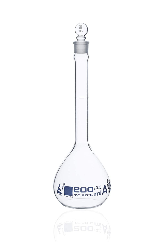 Volumetric Flask, 200ml - Class A, ASTM - Tolerance ±0.100 ml - Glass Stopper - Single, White Graduation, Blue Printed Specifications - Borosilicate Glass - Eisco Labs