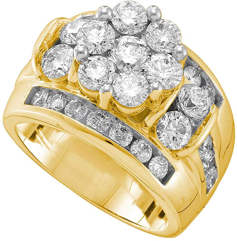 Dazzlingrock Collection 3.01 Carat (ctw) 3 Ct-Diamond Flower Ring, 14K Yellow Gold